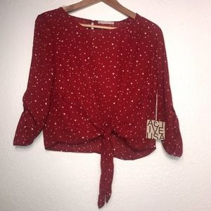 ACTIVE USA Red Blouse with Stars Size L
